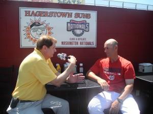 Gordy Schlotter, ESPN 1380 Radio Host Interviewing Hagerstown Suns Manager Patrick Anderson