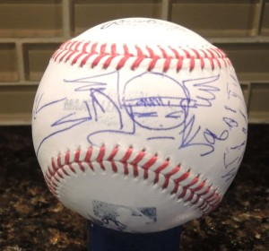 Baseball Autographed by Walt Simonson (featuring his drawing of Thor), Louise Simonson,  Joe Sinnott, Mark McKenna, Bob Wiacek, and Fred Hembeck