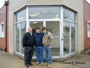 Bernard McKenna, Richard O'Keefe, and J. Hollis Albert, III, Outside Peabody Heights Brewery, Baltimore, Maryland