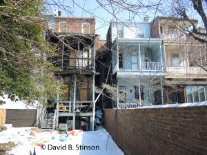 Rear of Row Houses at 2740 and 2738 St. Paul Street, Baltimore, Maryland. Former Homes of Wilbert Robertson and John McGraw.