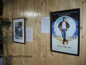 Posters of the book Deadball and the movie Field of Dreams Hang on a Wall of the Peabody Heights Brewery Tasting Room