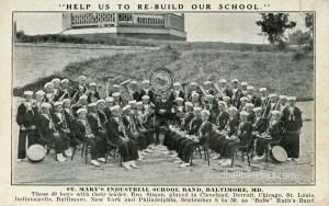 St. Mary's Industrial School Private Mailing Card, Featuring Babe Ruth's Band